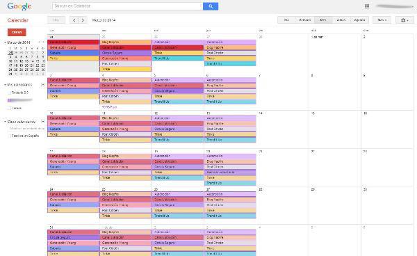 Ejemplo de calendario editorial con Google Calendar