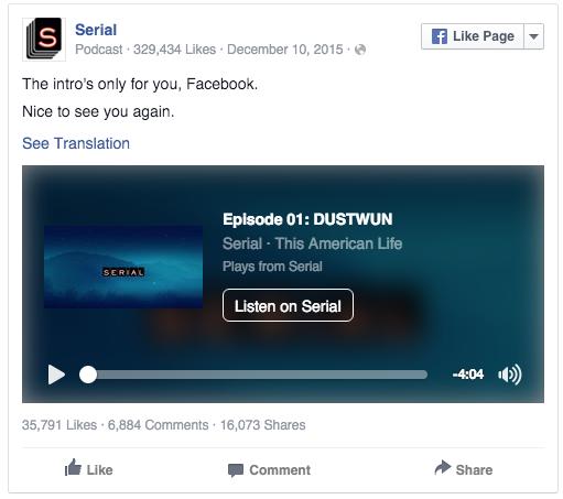 Serial usa Facebook para engordar su audiencia